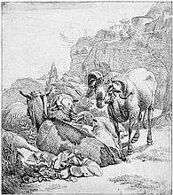 Roos, Johann Heinrich: Stehender Schafsbock mit ruhender Ziege und zwei Schafen