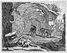 Fyt, Jan: Vier Hunde in römischen Ruinen