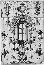 Floris, Cornelis II: Ornament mit Grotesken, Bandelwerk und zwei Kartuschen