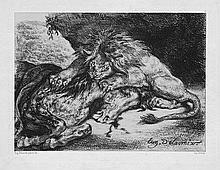 Delacroix, Eugène: Lion dévorant un cheval