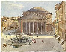 Treidler, Adolph: Blick auf die Piazza della Rotonda mit Pantheon in Rom