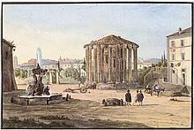 Deutsch: um 1840. Ansicht des Vesta-Tempels an der Piazza della Bocca di Verità in Rom