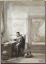 Hove, Hubertus van: Ein Gelehrter in Tracht des 17. Jahrhunderts in seinem Studiengemach