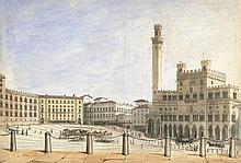 Italienisch: um 1840. Siena: Blick auf die Piazza del Campo
