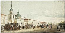 Deutsch: um 1830. Parade des Kavalergardskij Regiments in St. Petersburg