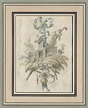 Huet, Jean-Baptiste: Sechs Trophäen mit Musikinstrumenten, Blumen und Vögeln
