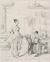 Béranger, Jean Baptiste Antoine Emile: Junge Frau beim Anlegen eines Kleides