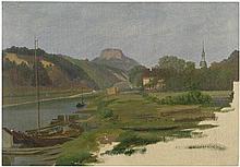 Ruge, Sophus: Blick von der Elbe bei Struppen auf den Lilienstein