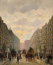 Französisch: 1856. Pariser Boulevard mit Pferdedroschken
