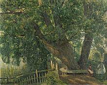 Berndt, Siegfried: Frau mit Kinderwagen unter mächtigem Baum