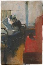 Ury, Lesser: Im Café (Dame vor rotem Sofa)