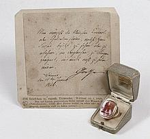 Goethe, Johann Wolfgang von: Goldring mit Gemme + Brief