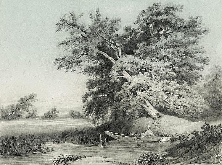 Piloty, Karl Theodor von: Landschaft mit großer Eiche