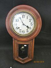 Antique Regulator Style Clock A fine clock in a solid oak body. Unknown if the movement works, no key.