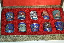10 Miniature Cloisonee Jars A fine lot with gorgeous miniature jars in a crushed velvet line box. Each jar is approx. 2