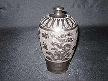 Chinese Black Glaze with Carved Dragon Meiping