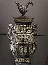 Chines Sang Dynasty Bronze Hu with Birds On Top