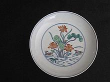 Chinese Yong Zhen Doucai Plate with Birds Under lotus