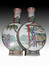 Chinese Porcelain Crackle-Glaze Conjoined Vases