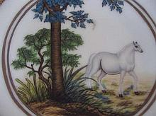 Chinese The dish depicts a horse in a forest setting.