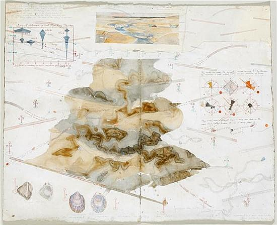 John Wolseley (born 1938) Concerning the Movement of Various Molluscs on Ribbed Sea Sand 1991 ink, pencil, watercolour and collage o...