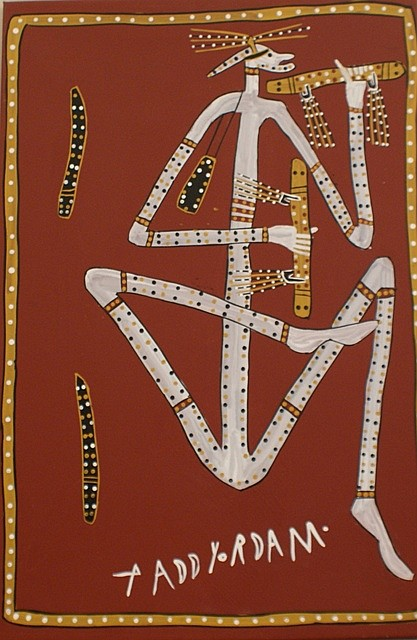 Paddy Fordham Wainburranga (circa 1930-2006) Dancing Mimi Man with Important Men's Clapsticks acrylic on canvas