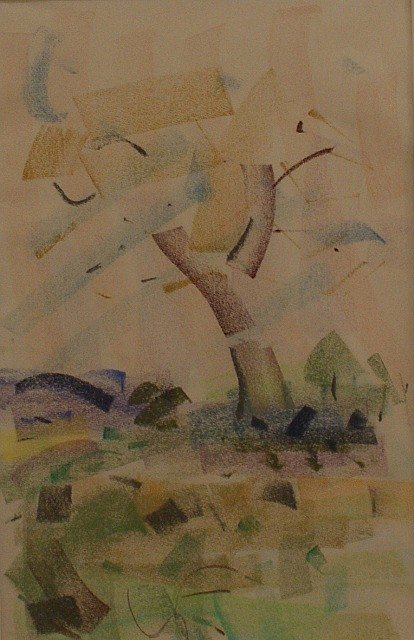 Sam Fullbrook (1922-2004) The Tree on Hermit Hill pastel