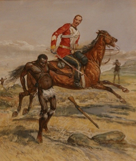 George Rossi Ashton (1857-1893) An Incident in the Zulu War watercolour and gouache