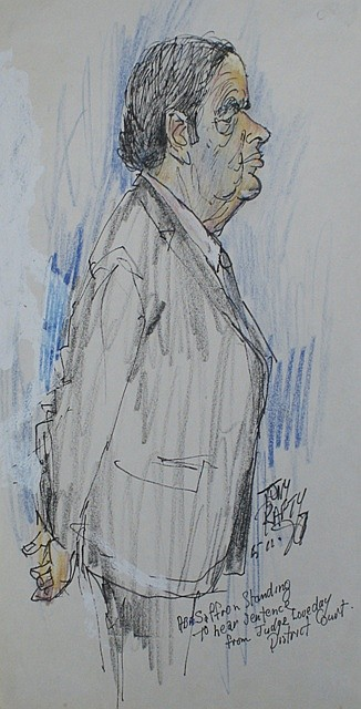Tony Rafty (born 1915) Abe Saffron Standing to Hear Sentence pencil and pen