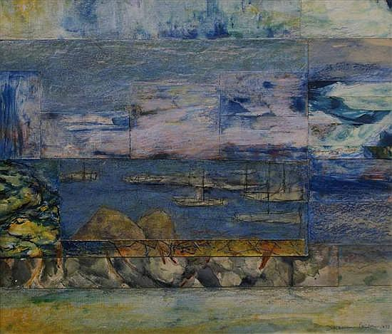 Desiderius Orban (1884-1986) Harbour Scene 1973 mixed media