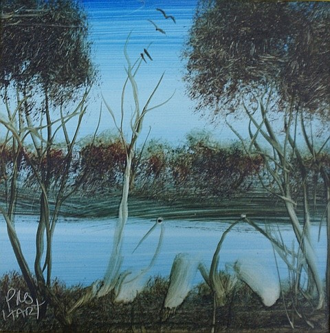 Pro Hart (1928-2006) Swamp Birds II oil on board