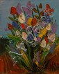 Pro Hart (1928-2006) Wildflowers oil on board
