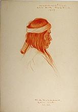 WHAM-NE-TOE, San Dia Pueblo, 1909. Conte crayon Burbank
