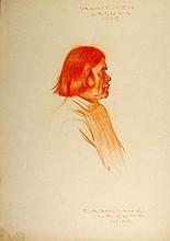 YAH-ME-YEH, Laguna, 1909. Conte crayon by E. A. Burbank