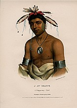 J-AW-BEANCE Chippeway Indian Chief. Colored litho