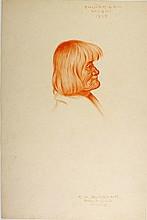 SHU-PE-LAH, Moqui Indian 1908. Conte crayon by Burbank