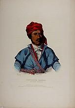 TIMPOOCHEE BARNARD, Uchee Indian Warrior. Color litho