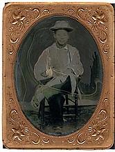 CHINESE MAN AS MODERN ART, 1/4 plate tintype