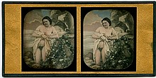 NUDE BEFORE WILD BACKDROP. Stereoscopic daguerreotype