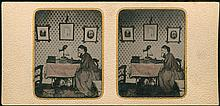 STEREOSCOPIC TINTYPE, LADY, VIEWER, DOG UNDER TABLE.