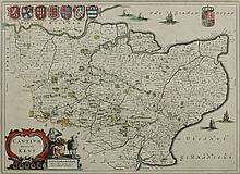 BLAEU, Johannes - A Map of Kent:, hand-coloured, d