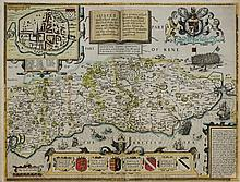 SPEED, John : Sussex - hand coloured map, 505 x 38