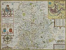 SPEED, John : Shropshire - hand coloured map, 505