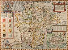 SPEED, John : Devonshire, hand coloured map, 510 x