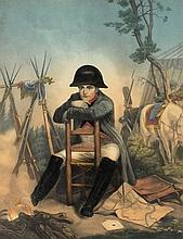 Napoleon seated, a hand-coloured aquatint:, 305 x
