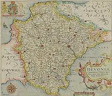 KIP, William - Devon: hand coloured map (probably