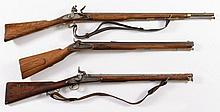 Two 19th century percussion carbines, one with rifled octagonal barrel, together with a flintlock ca