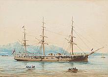 British School 19th century- A Royal Naval three-m