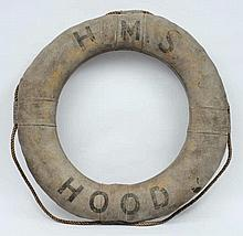 HMS Hood- an early 20th century grey canvas and ro