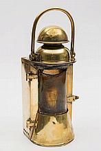 An early 20th century brass ship's bulkhead lamp b